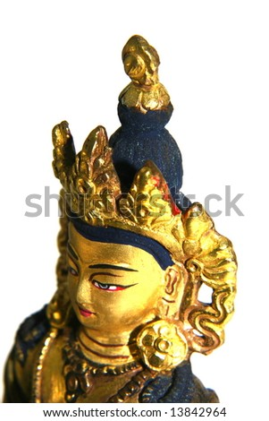 Golden Buddha Statue Head Isolated on White - stock photo