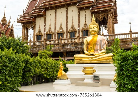 Golden Buddha statue in a Thai temple. The name of this temple is Wat Ban Rai.
