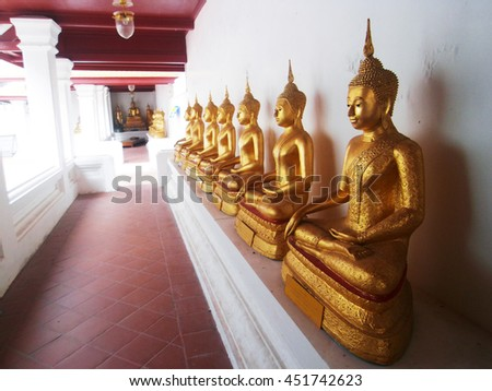Golden Buddha Statue in Traditional Temple (Bangkok, Thailand)