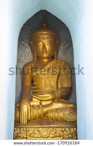 Golden Buddha statue, Indein, Myanmar, Burma, Southeast Asia - stock photo