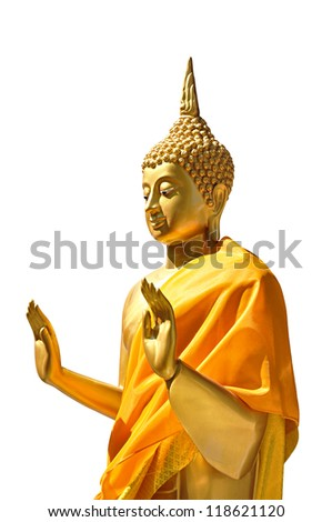 Golden buddha statue isolated - stock photo