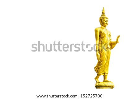 Golden buddha statue isolated