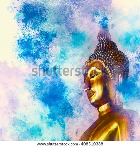 Golden Buddha statue on watercolor  background. - stock photo