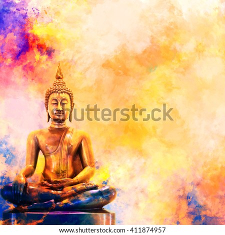 Golden Buddha Statue On Watercolor Background