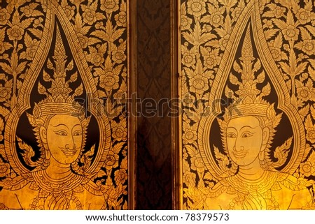 golden buddhist door in wat phra kaeo temple Bangkok thailand & Golden Buddhist Door Wat Phra Kaeo Stock Photo 78379573 - Shutterstock