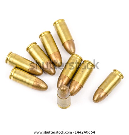 Golden Bullets isolated on the white Background. - stock photo