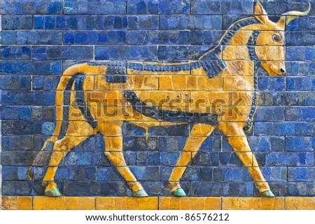 Golden Calf, ancient mosaic, Assyria - stock photo