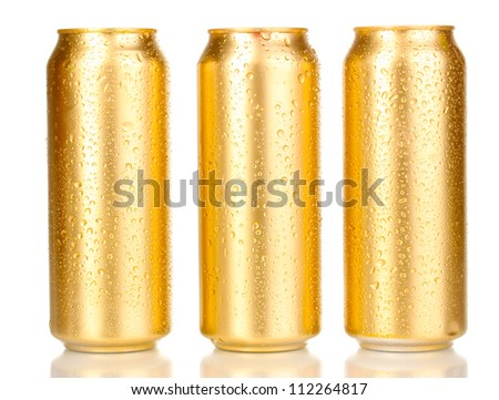 golden can with water drops isolated on white