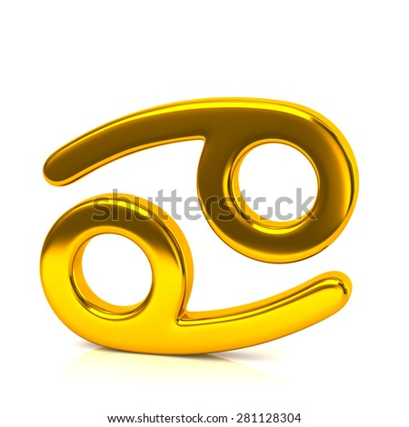 Golden cancer zodiac sign isolated on white background - stock photo