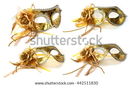 Golden carnival Mask, flower of taffeta - stock photo