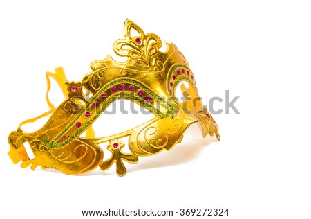 Golden carnival mask on a white background - stock photo