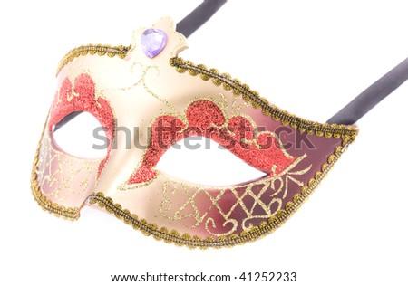 Golden carnival mask on white background - stock photo