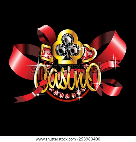golden casino label with red ribbons on black background - stock photo