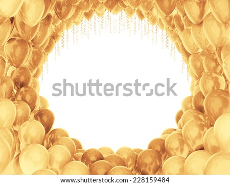 Golden celebration balloons circular frame  - stock photo