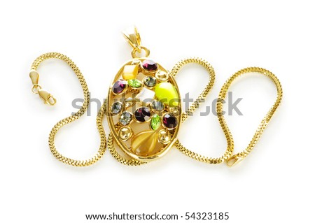 Golden chain and brooch isolated on white - stock photo