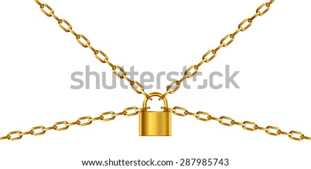 Golden chain and padlock, isolated on white