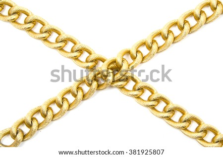 Golden chain. Isolated on white.