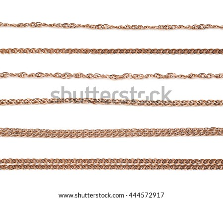 Golden chain isolated over the white background, set of six different foreshortenings