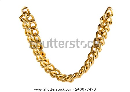 Golden chain of twisted rings. Isolated on white