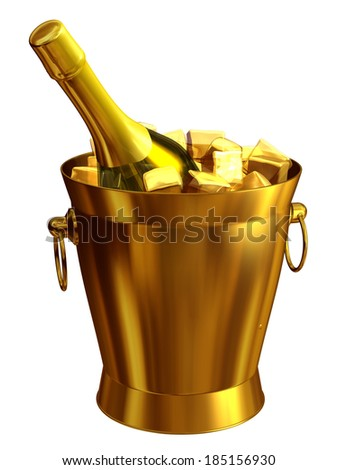 golden champagne cooler with ice water an champagne bottle - stock photo