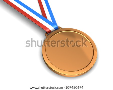 Golden champion medal isolated on a white background