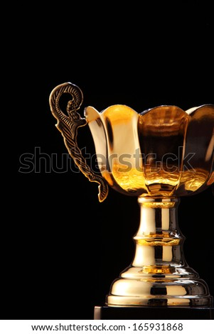 golden champion trophy on the black