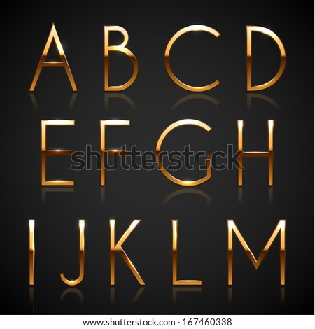 Golden characters collection - uppercase version - raster version - stock photo
