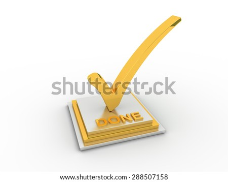 Golden check  mark icon on rectangle with DONE word - stock photo