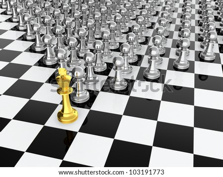 Golden chess king leading silver pawns