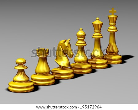 golden chess pieces, pawn; rook; knight; bishop; queen; king;  - stock photo