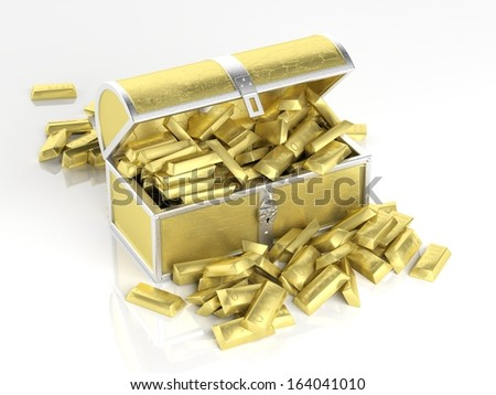 Golden chest full of golden bars - stock photo
