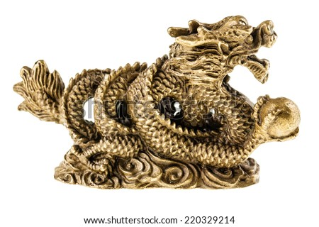 Golden chinese dragon sculpture isolated over a pure white background - stock photo