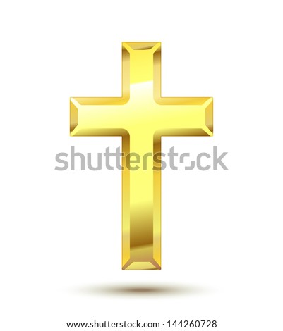 Golden Christian Cross isolated on white background. See also vector version - stock photo