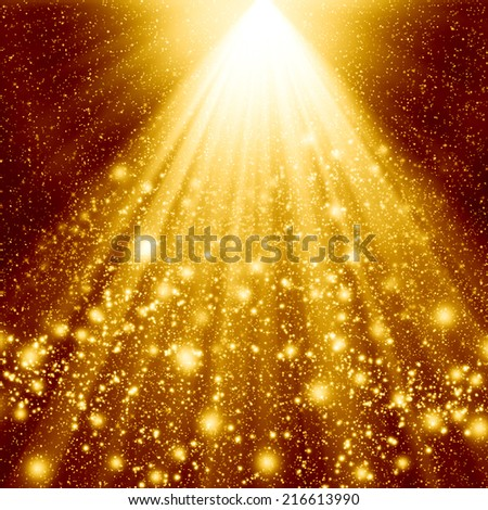 Golden christmas abstract background - stock photo