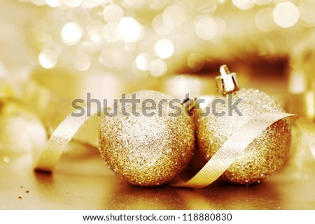 golden christmas background gifts ball - stock photo