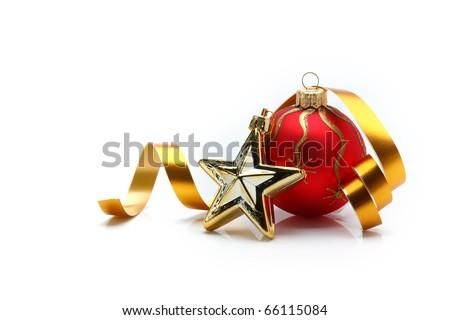 golden christmas ball - stock photo