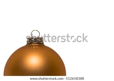 Golden Christmas ball half isolated on white background