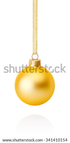 Golden Christmas ball hanging on ribbon Isolated on white background - stock photo