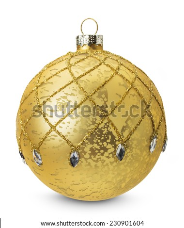 golden Christmas ball isolated on the white background - stock photo