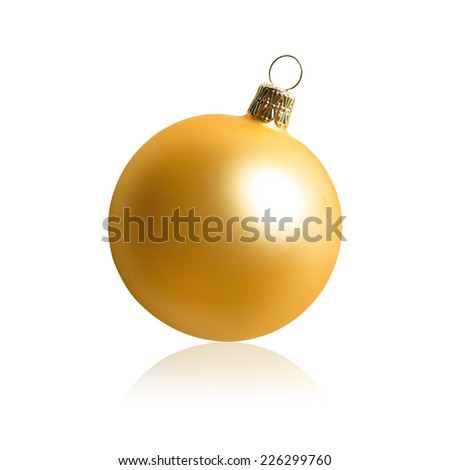 Golden christmas ball isolated on white.
