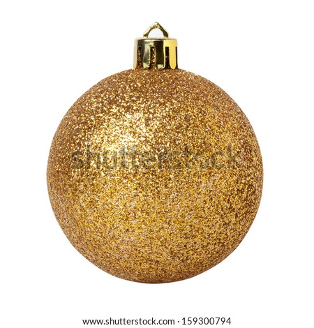 Golden Christmas Ball Isolated on White with Clipping Path