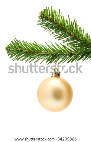 Golden Christmas ball on a tree isolated on white background
