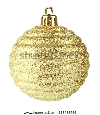 Golden christmas ball on white background - stock photo