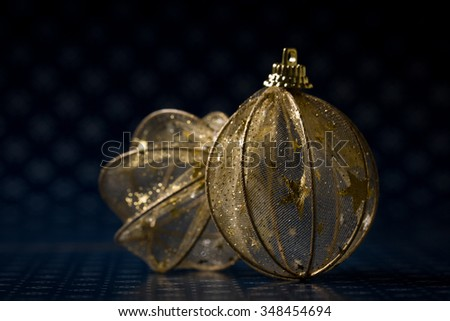 Golden Christmas balls and decoration.