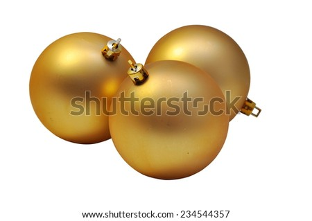 Golden Christmas balls isolated on white background