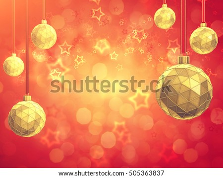Golden christmas balls on red background with copyspace  , Decoration baubles , 3d illustration