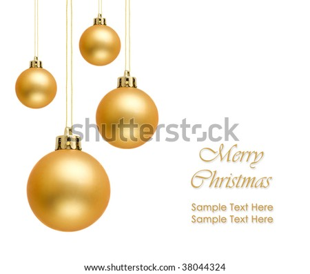 Golden christmas balls over white background - stock photo
