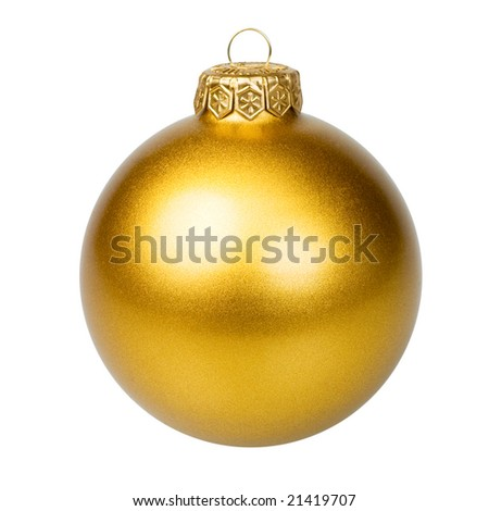 Golden Christmas bauble on white background - stock photo