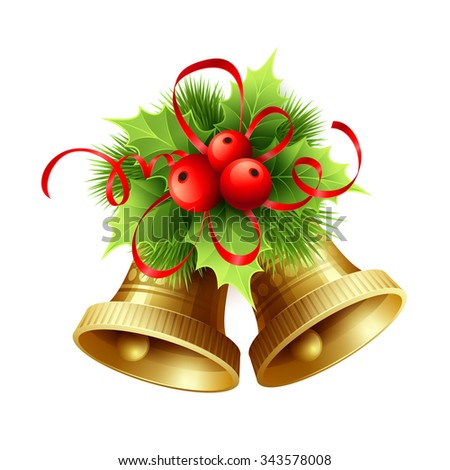 Golden Christmas bells with Holly berries, tinsel and red bow. illustration  - stock photo