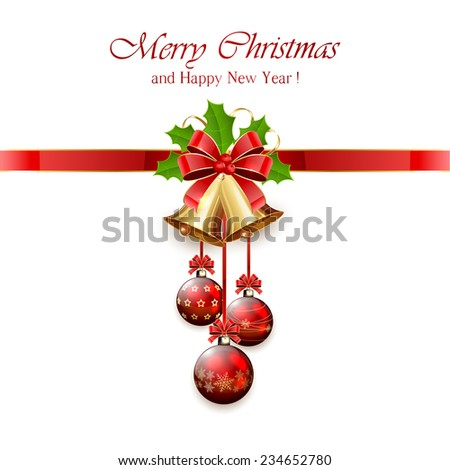 Golden Christmas bells with red bow, tinsel and Holly berries on white background, illustration. - stock photo